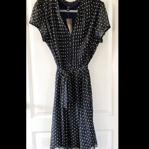 NWT J.B.S Brand Navy Blue & Yellow Polka Dot Dress